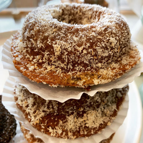 coconut donut that is vegan and gluten free by Om Sweet Home