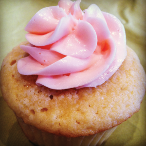 Vegan and gluten free cupcake with pink frosting
